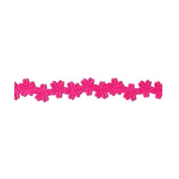 Лента с 3D мотиви, 12 mm, 2m Лента с 3D мотиви, 12 mm, 2m, цветчета, розова