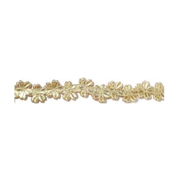 Лента с 3D мотиви, 12 mm, 2m Лента с 3D мотиви, 12 mm, 2m, цветчета, златна