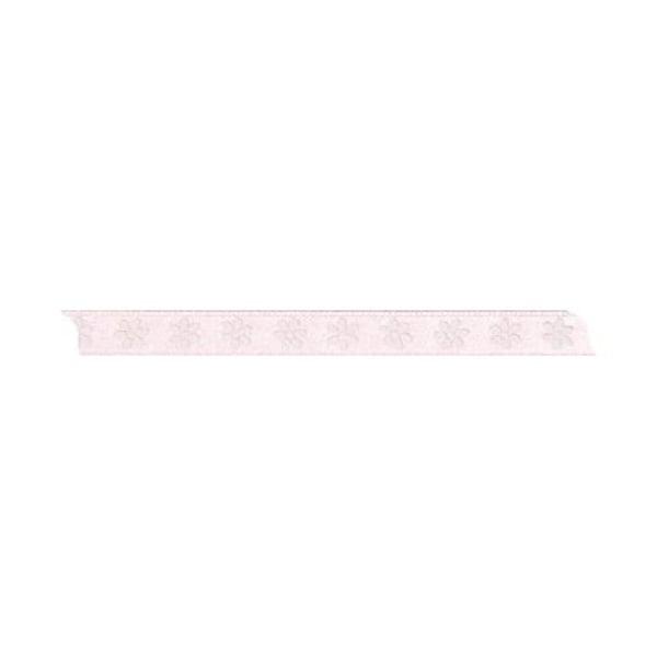 Лента с мотив, 10 mm, 5m Лента с мотив, 10 mm, 5m, розова с цветчета