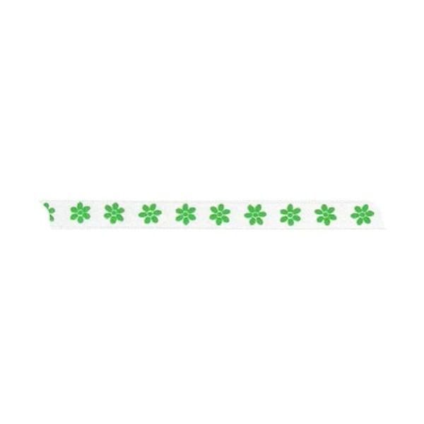 Лента с мотив, 10 mm, 5m Лента с мотив, 10 mm, 5m, зелена с цветчета
