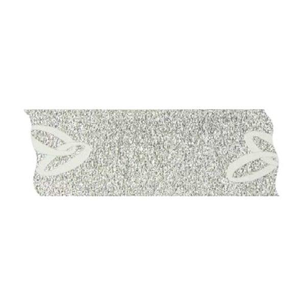 Лента с мотив, 40 mm, 2,5 m Лента с мотив, 40 mm, 2.5m, бяла със сребърни халки