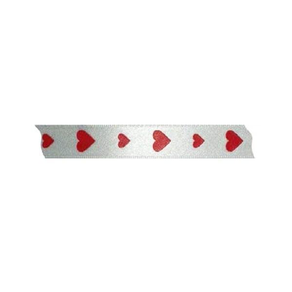 Лента с мотиви сърчица,  15 mm, 20m Лента с мотиви, 15 mm, 20m, бяла с червени сърчица
