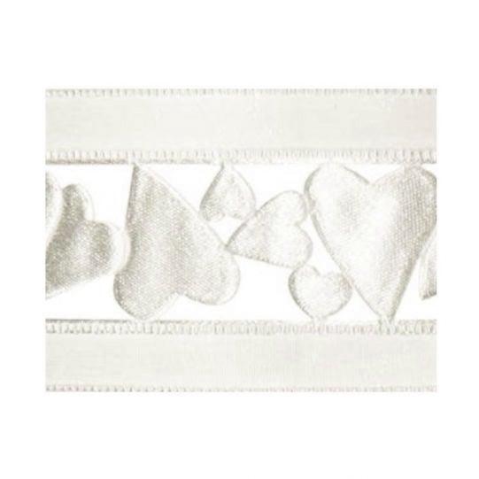 Лента с мотиви, 40 mm, 10 m Лента с мотиви, 40 mm, 10m, бяла със сърчица