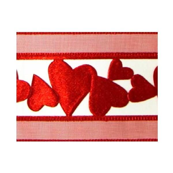 Лента с мотиви, 40 mm, 10 m Лента с мотиви, 40 mm, 10m, червена със сърчица