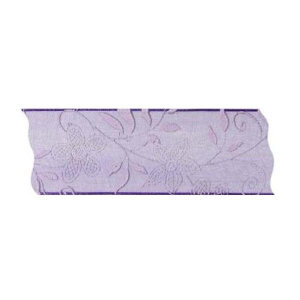 Лента с мотиви, 40 mm, 25m, лилава на цветя