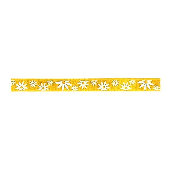 Лента сатенена двулицева, 10 mm, 10m Лента сатенена двулицева, 10 mm, 10m, жълта с бели цветчета