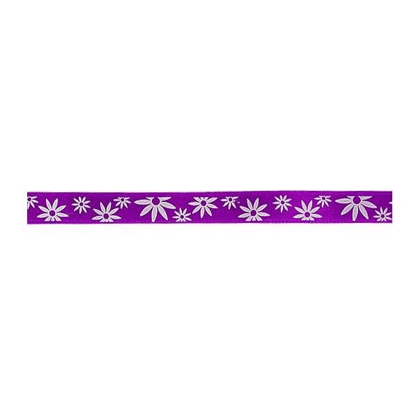Лента сатенена двулицева, 10 mm, 10m Лента сатенена двулицева, 10 mm, 10m, лилава с бели цветчета