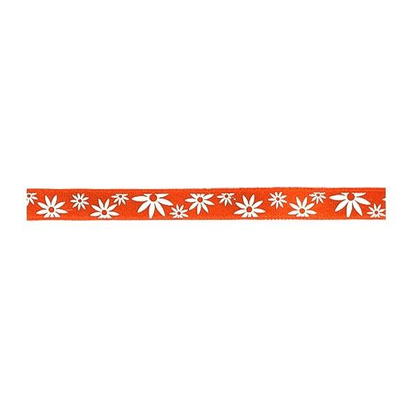 Лента сатенена двулицева, 10 mm, 10m Лента сатенена двулицева, 10 mm, 10m, оранжева с бели цветчета