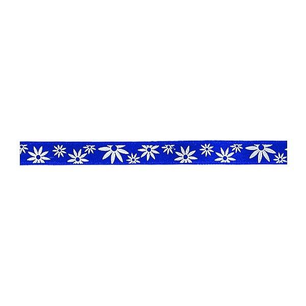 Лента сатенена двулицева, 10 mm, 10m Лента сатенена двулицева, 10 mm, 10m, синя с бели цветчета