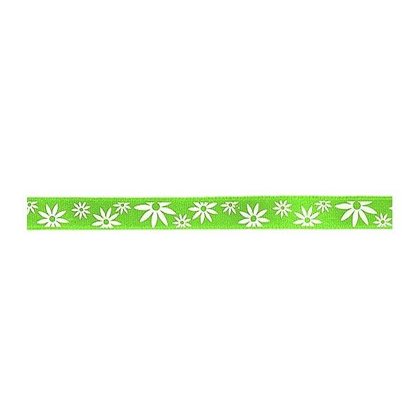 Лента сатенена двулицева, 10 mm, 10m Лента сатенена двулицева, 10 mm, 10m, зелена с бели цветчета