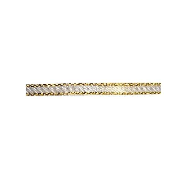 Лента сатенена със златен кант, 3 mm, 10m Лента сатенена със златен кант, 3 mm, 10m, бежова