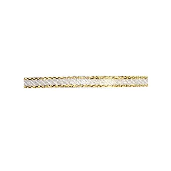 Лента сатенена със златен кант, 3 mm, 10m Лента сатенена със златен кант, 3 mm, 10m, бяла