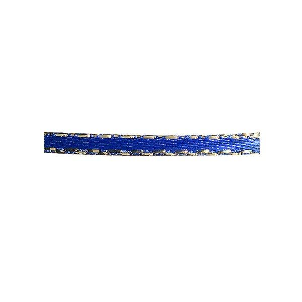 Лента сатенена със златен кант, 3 mm, 10m Лента сатенена със златен кант, 3 mm, 10m, кралско синя