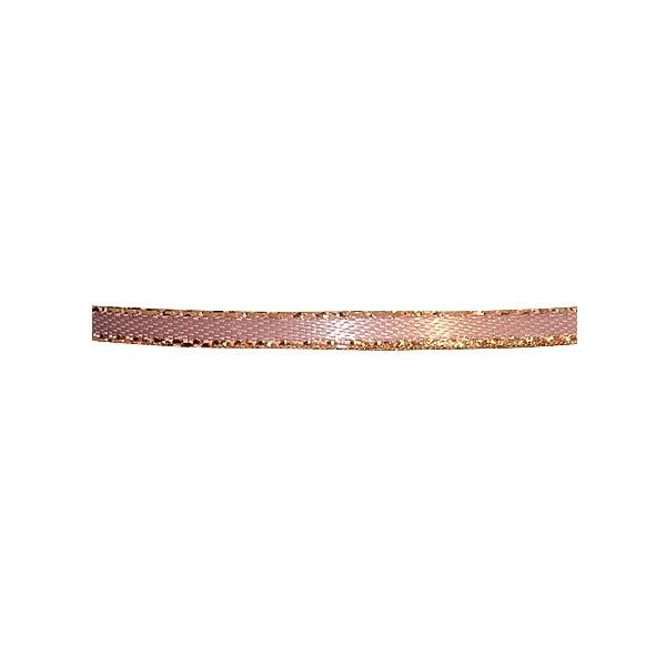 Лента сатенена със златен кант, 3 mm, 10m Лента сатенена със златен кант, 3 mm, 10m, стара роза