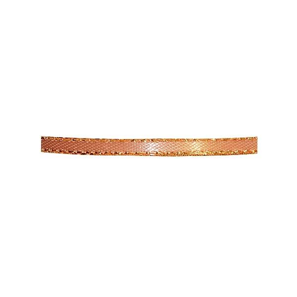 Лента сатенена със златен кант, 3 mm, 10m Лента сатенена със златен кант, 3 mm, 10m, светло кафява