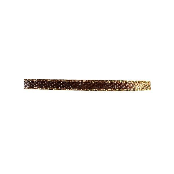 Лента сатенена със златен кант, 3 mm, 10m Лента сатенена със златен кант, 3 mm, 10m, тъмно кафява