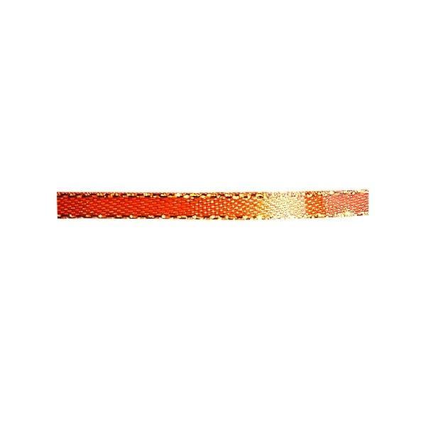 Лента сатенена със златен кант, 3 mm, 10m Лента сатенена със златен кант, 3 mm, 10m, тъмно оранжева