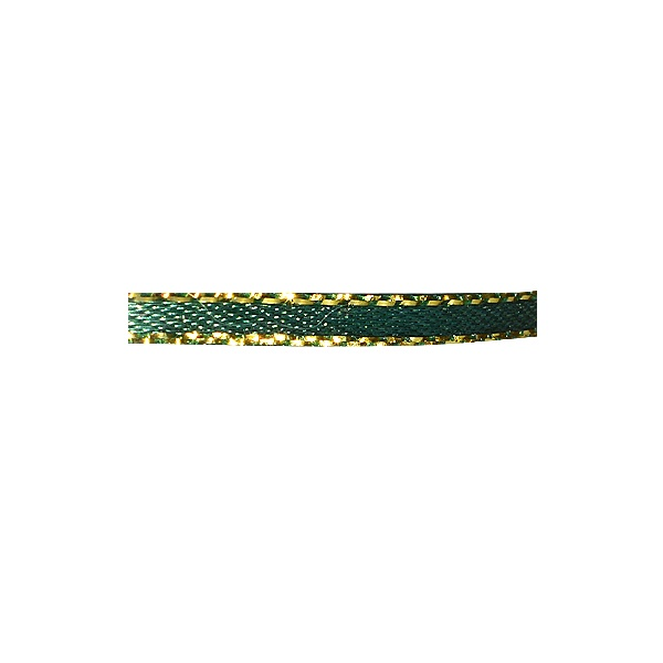 Лента сатенена със златен кант, 3 mm, 10m Лента сатенена със златен кант, 3 mm, 10m, тъмно зелена