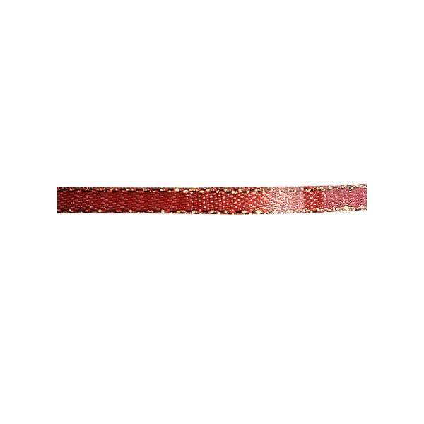 Лента сатенена със златен кант, 3 mm, 10m Лента сатенена със златен кант, 3 mm, 10m, винено червена