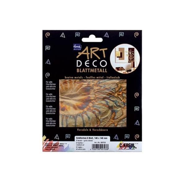 Метални листи ART Deco, 140 х 140 mm, 6л, синьо/злато