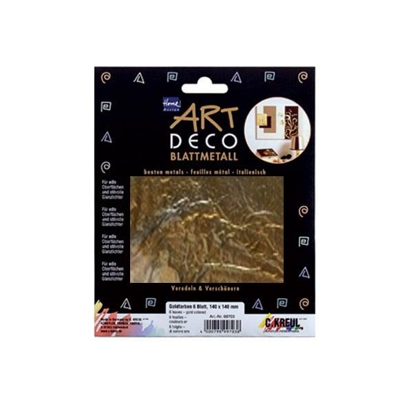 Метални листи ART Deco, 140 х 140 mm, 6л, смарагдово/злато