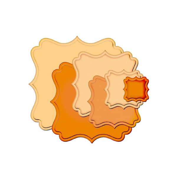 """Метални шаблони за изрязване на хартия """"Nestabilities"""", ~ 2,5 x 2,5 - 9,5 x 9,5 cm"""
