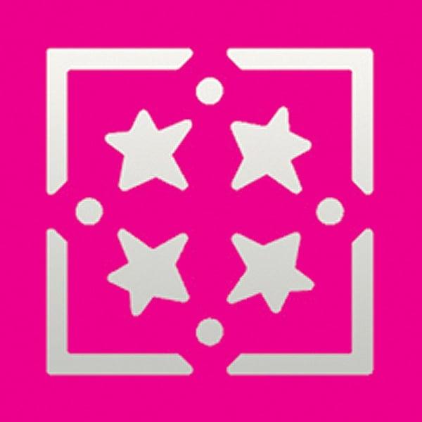 Пънч квадратен с рамка, Звезди, ~ 22 x 22 mm