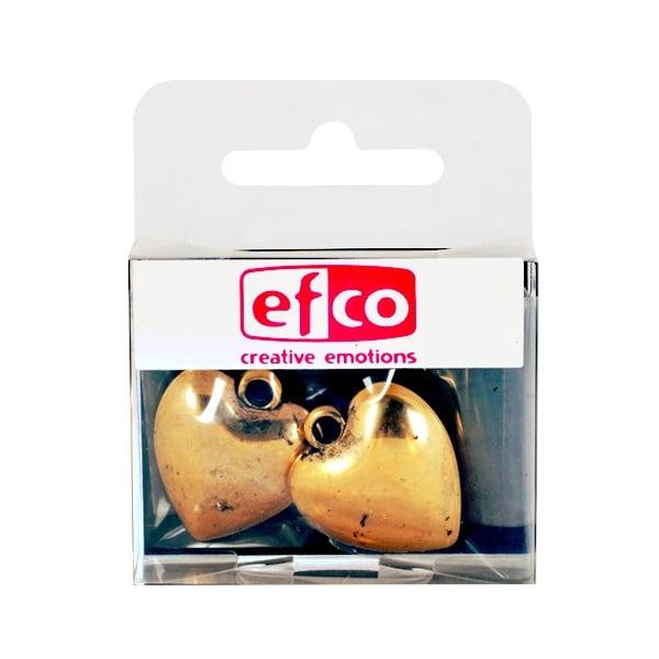 Пластмасова висулка, сърце, 24 x 27 mm, 2 бр., старо злато
