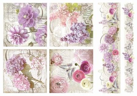 Декупажна тишу хартия, FLOWERS, 35 x 50 cm