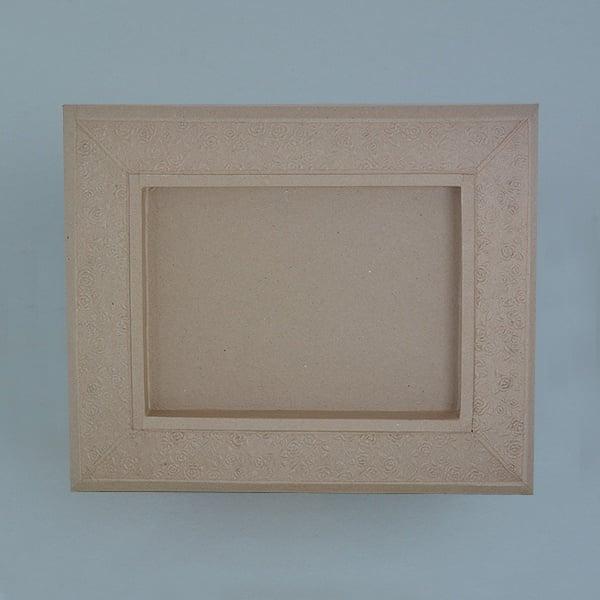 Рамка от папие маше с орнаменти, правоъгълник Рамка от папие маше с орнаменти, правоъгълник, 42,5 x 35,5 x 3,5 cm / 21 x 28 x 3 cm