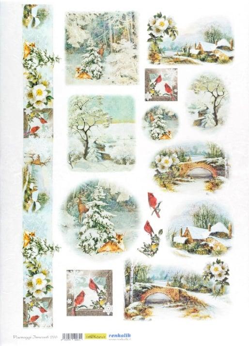 Декупажна тишу хартия, PAESAGGI INNEVA, 35 x 50 cm