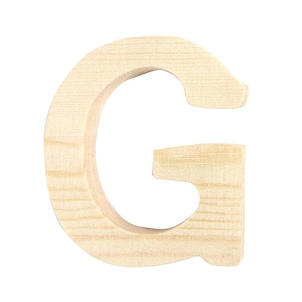 """Буква декоративна RicoDesign, """"G"""", натурално дърво, 8 cm"""