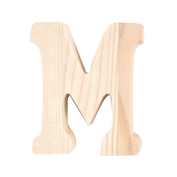 """Буква декоративна RicoDesign, """"M"""", натурално дърво, 8 cm"""