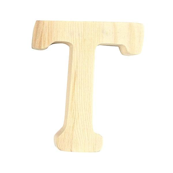 """Буква декоративна RicoDesign, """"T"""", натурално дърво, 8 cm"""