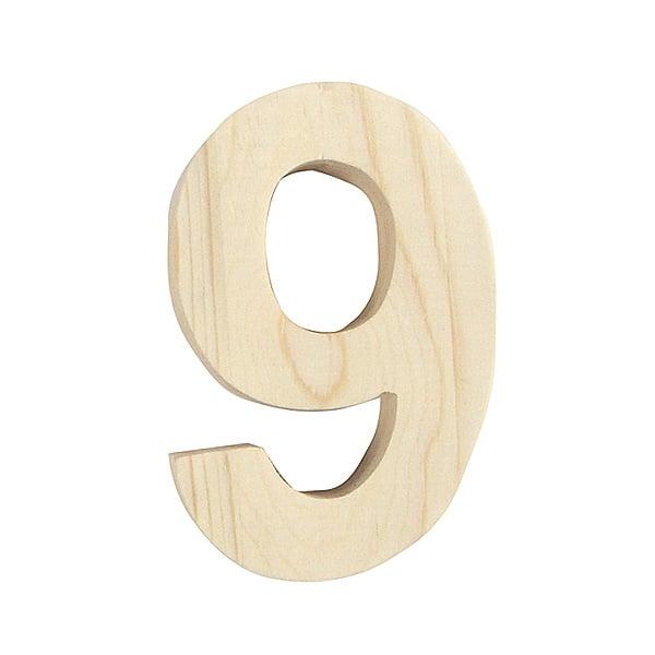 "Цифра декоративна RicoDesign, ""9"", натурално дърво, 8 cm"