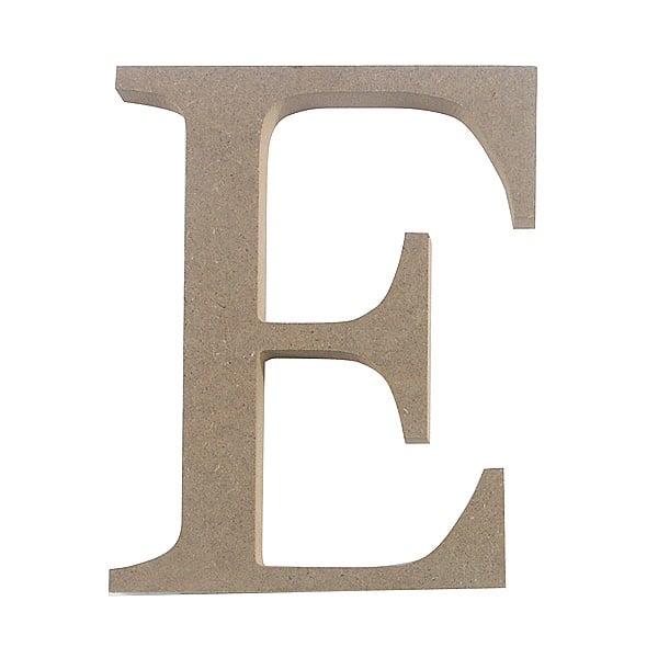 """Декоративен символ RicoDesign, """"E"""", MDF, 4,1x3,3 cm"""