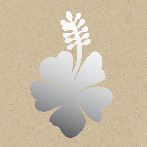Декоративна фигура RicoDesign, МАЛЪК ХИБИСКУС ЦВЯТ, SILVER, 5.5/7.5 cm