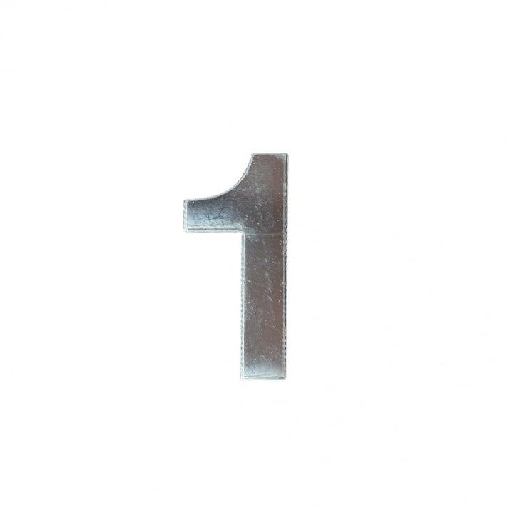 """Декоративен символ RicoDesign, """"1"""", SILVER, 32/14 mm"""
