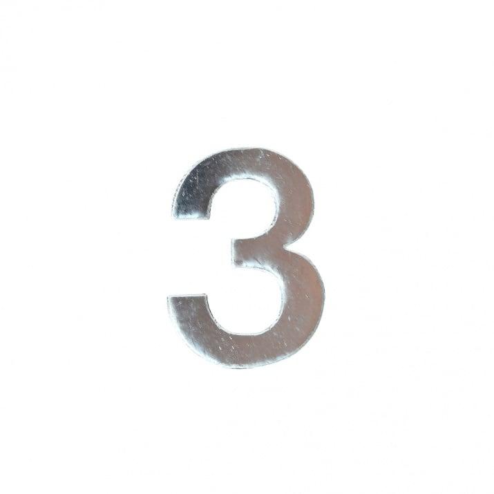 """Декоративен символ RicoDesign, """"3"""", SILVER, 32/23 mm"""