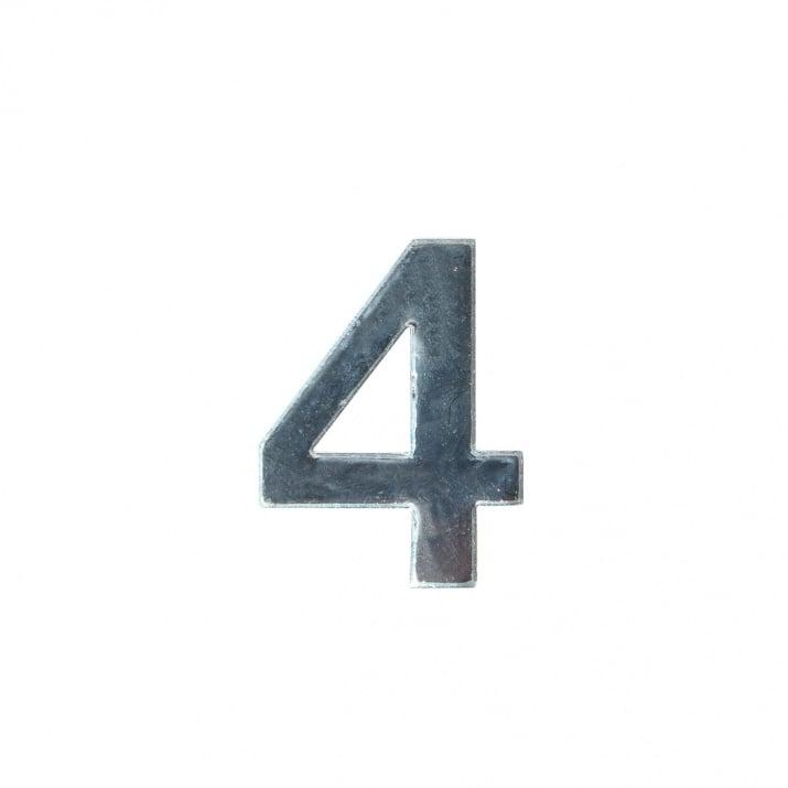"""Декоративен символ RicoDesign, """"4"""", SILVER, 32/23 mm"""
