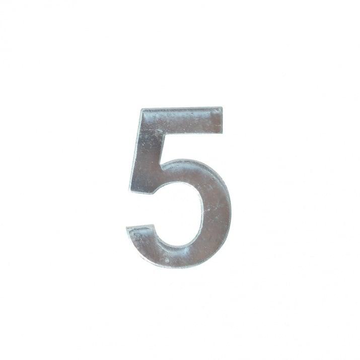 """Декоративен символ RicoDesign, """"5"""", SILVER, 32/23 mm"""