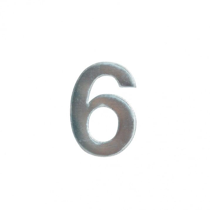 """Декоративен символ RicoDesign, """"6"""", SILVER, 32/23 mm"""