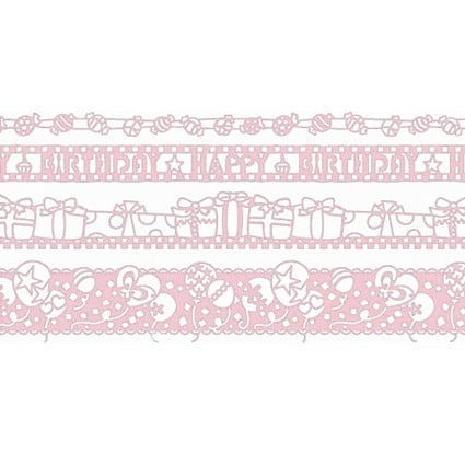 Лента самозалепяща RicoDesign, 48 mm x 20 m Лента самозалепяща бордюрна RicoDesign, PINK BIRTHDAY, 4 ролки x 1 m