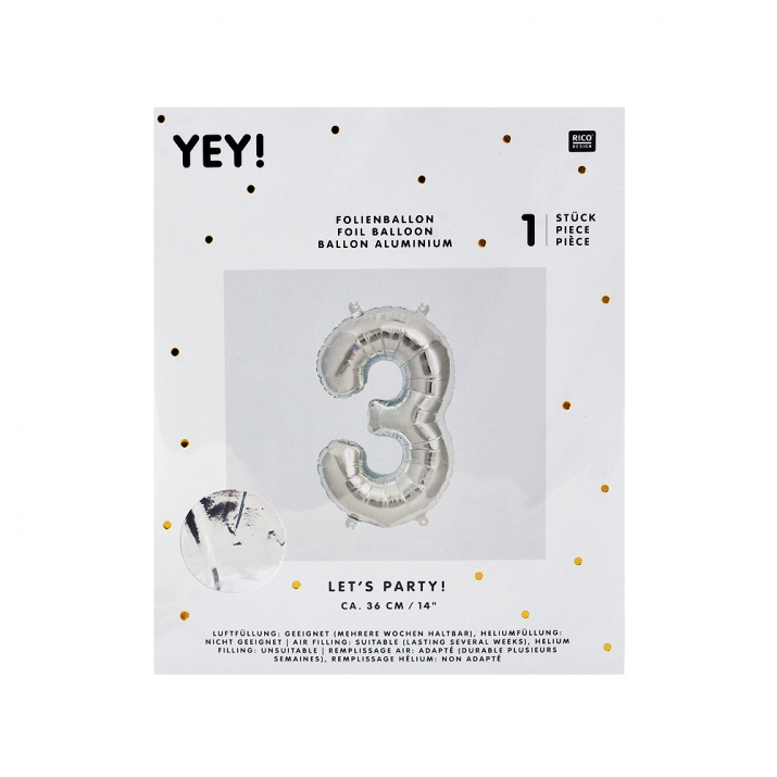 Фолиев балон, 36 cm, сребро Фолиев балон, цифра 3, 36 cm, сребро