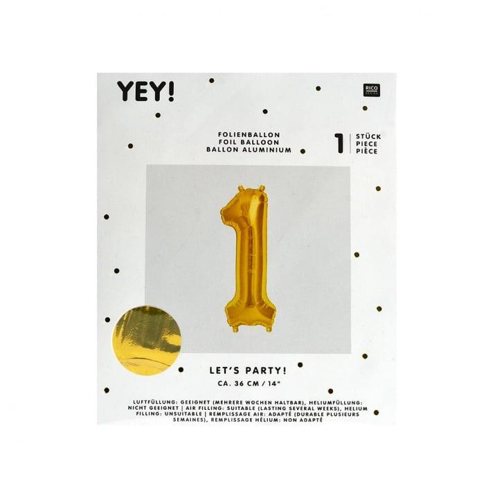 Фолиев балон, 36 cm, злато Фолиев балон, цифра 1, 36 cm, злато