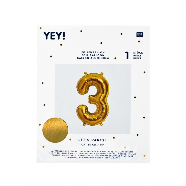 Фолиев балон, 36 cm, злато Фолиев балон, цифра 3, 36 cm, злато