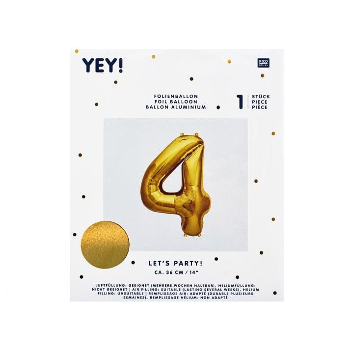 Фолиев балон, 36 cm, злато Фолиев балон, цифра 4, 36 cm, злато