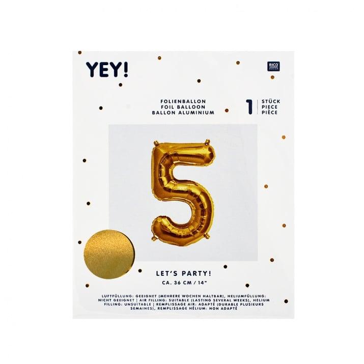 Фолиев балон, 36 cm, злато Фолиев балон, цифра 5, 36 cm, злато