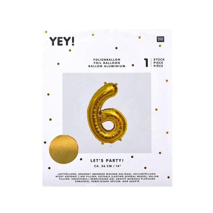 Фолиев балон, 36 cm, злато Фолиев балон, цифра 6, 36 cm, злато