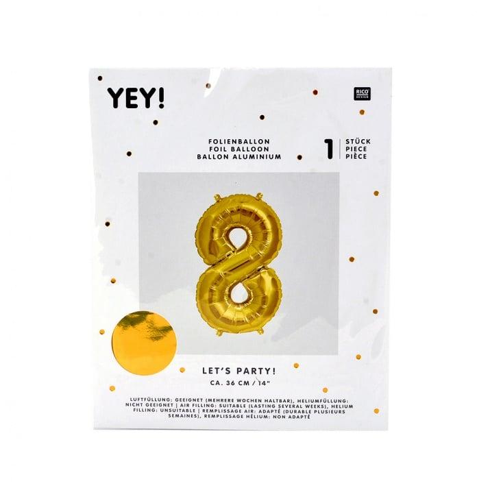 Фолиев балон, 36 cm, злато Фолиев балон, цифра 8, 36 cm, злато